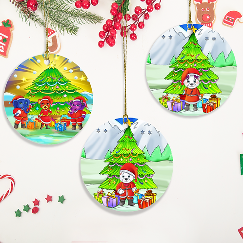 LolliWolliWorld Christmas Ornaments/ 3 Piece Set