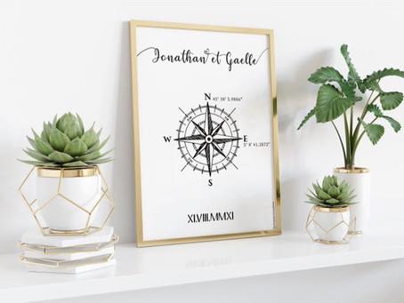 Affiche boussole - CRAYONS & CONFETTIS
