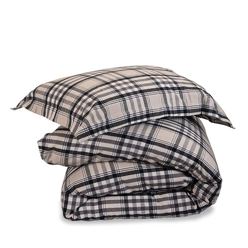 Image of stacked duvet and pillow with Hatton covers