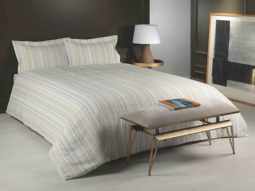 Image of bed with Marazion lime duvet cover