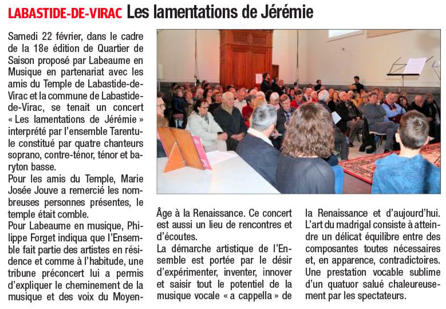 Lamentations de Jérémie de Roland de Lassus - Ensemble Tarentule - Labastide-de-Virac