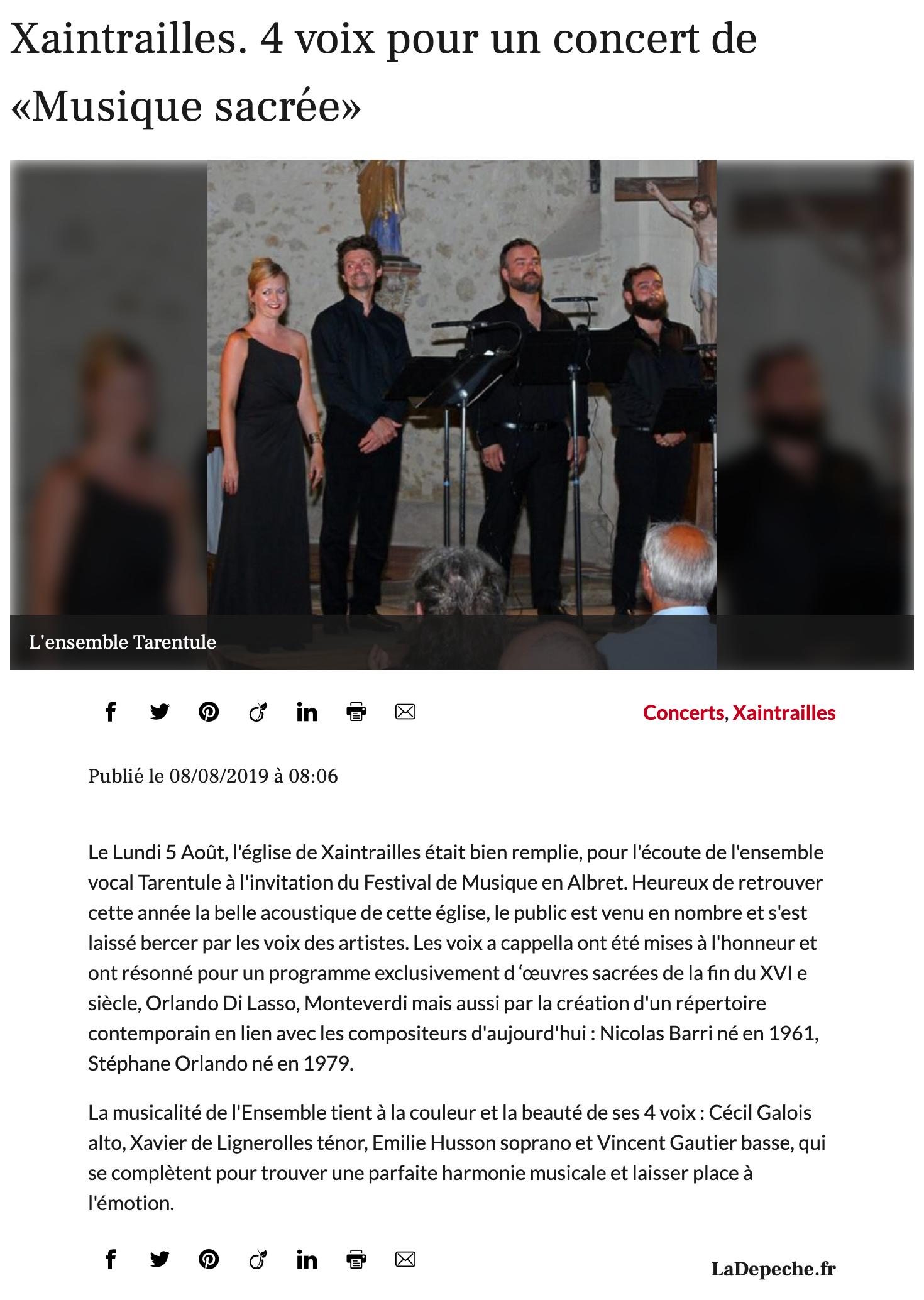 Concert Tarentule - Musique en Albret _ Journal La Dépêche 060819