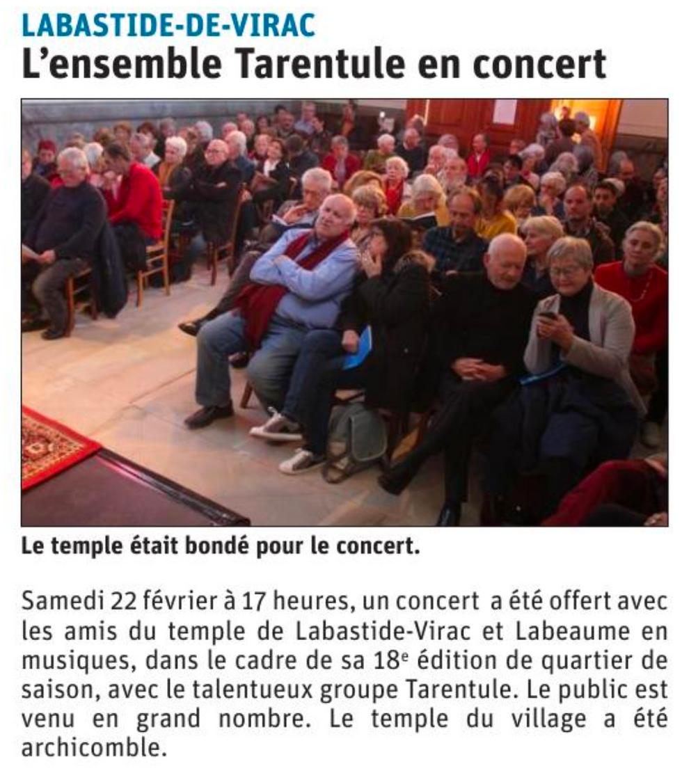 Concert Tarentule - Labeaume en Musiques - Février 2020