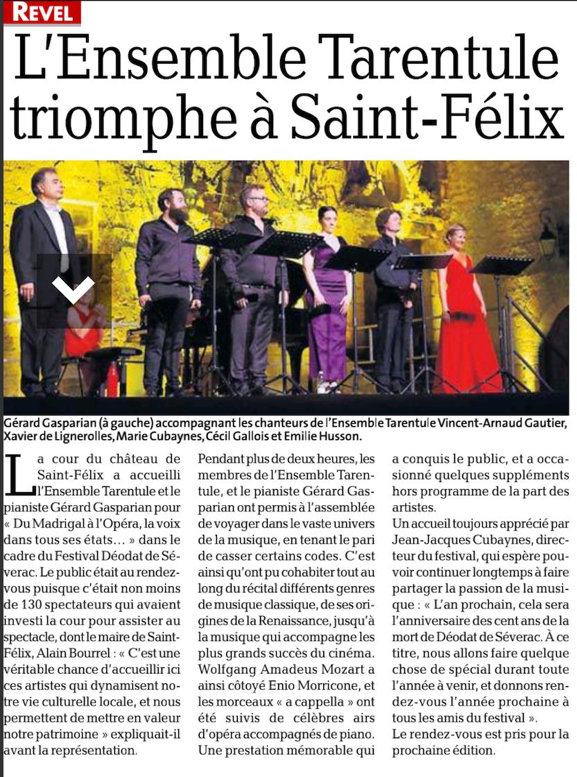 Ensemble Tarentule_Festival Déodat de Séverac_Journal La Dépêche du