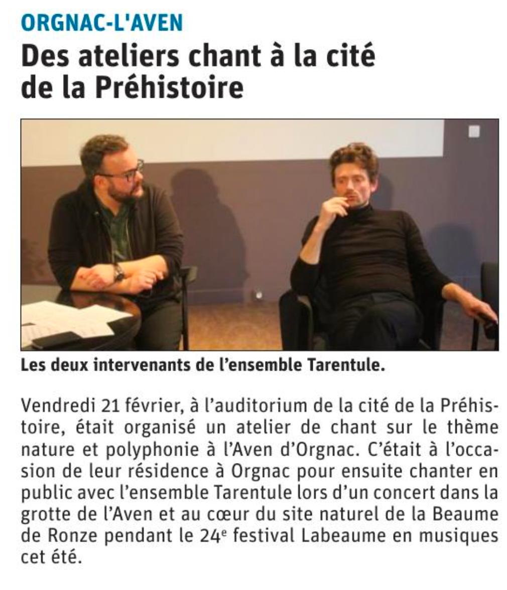 Atelier Chant Cecil Gallois et Xavier de Lignerolles - Labaume en Musiques