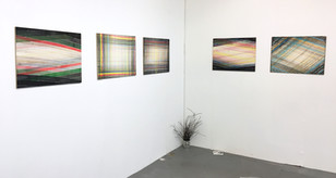 Paintings on display in studio