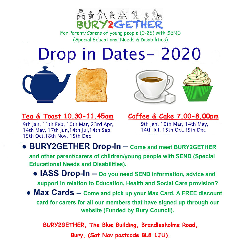 Monthly drop in sessions: Tea and toast/coffee and cake