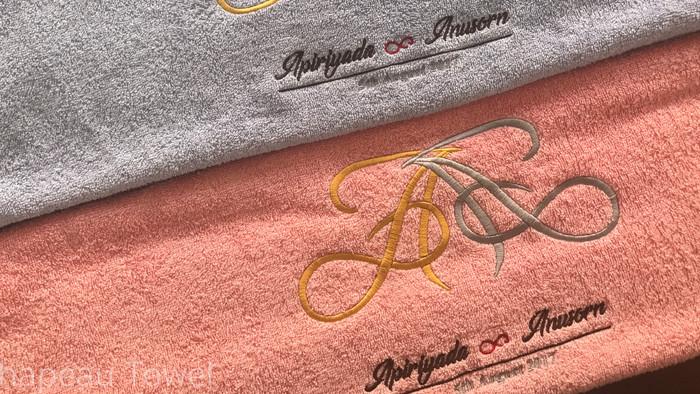 ผ้าเช็ดตัวคละสีและปักโลโก้ 2 สี