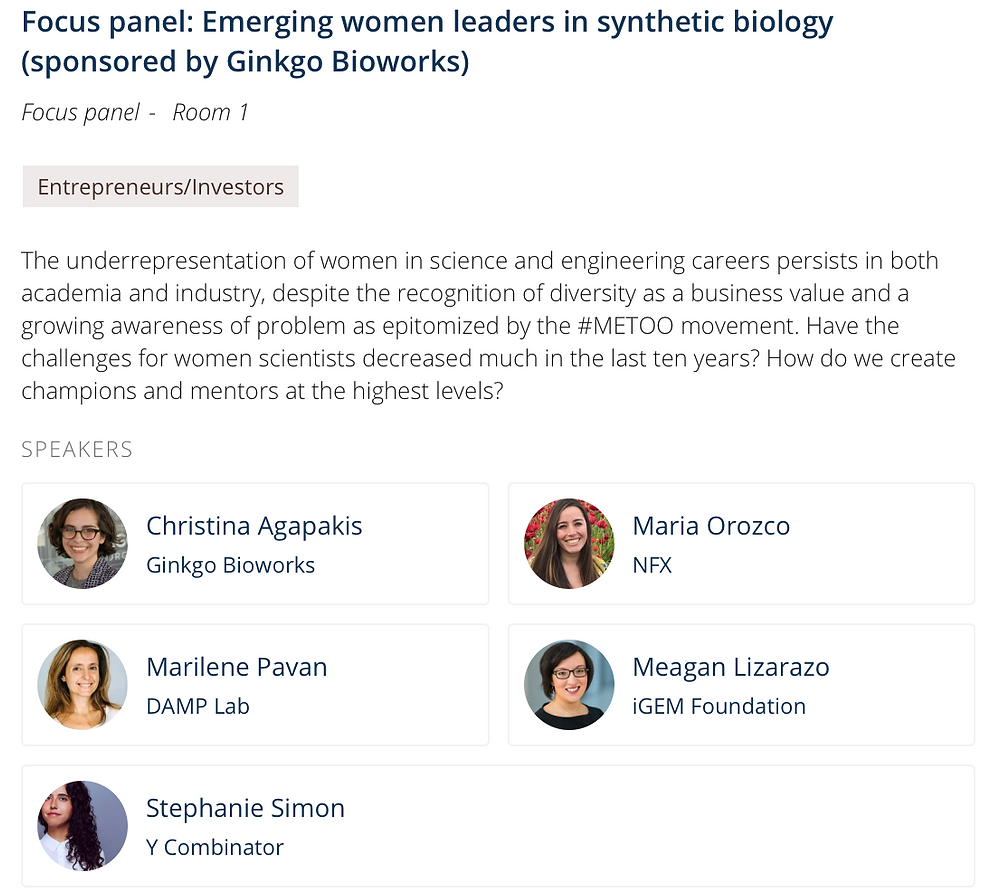 Women in Synthetic Biology Panel at SynBioBeta 2018