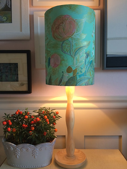Summer Garden in Aqua and Gold lampshade