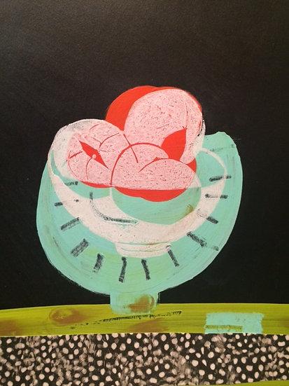 Peaches in Aqua Fruit Bowl