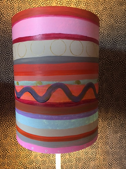 Pink stripy lampshade