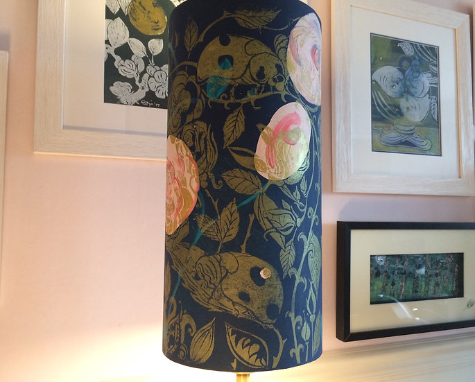 Giant Lady Bird in Roses on Navy with Gold Print lampshade