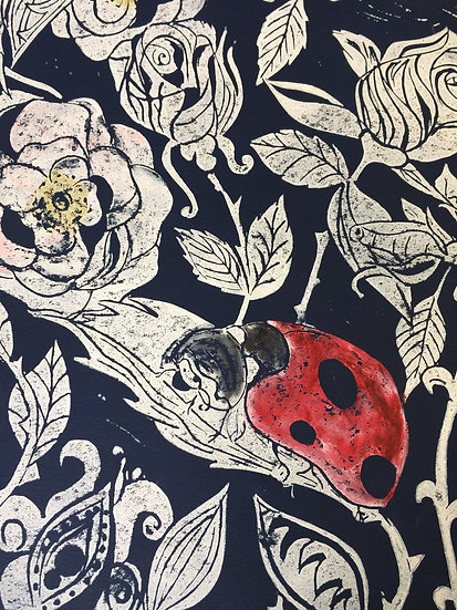 Ladybird in the Roses on Navy Blue Relief Print