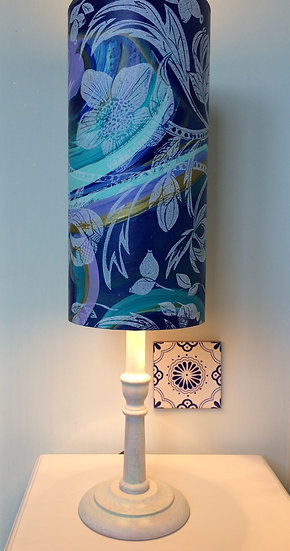 Hellebore on Royal Blue with Lilac lampshade