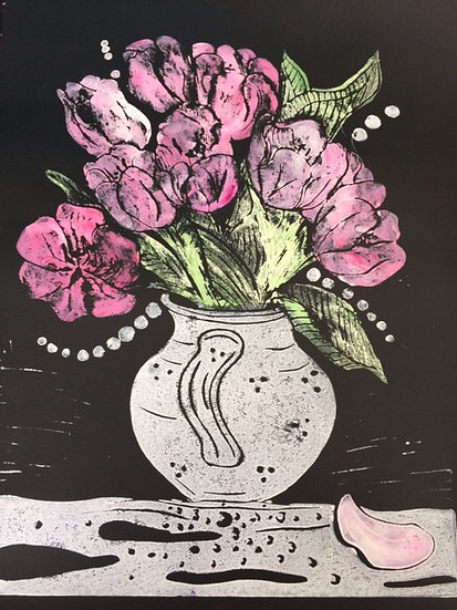 Tulips in my Favourite Jug in Black, Pink and Apple Green