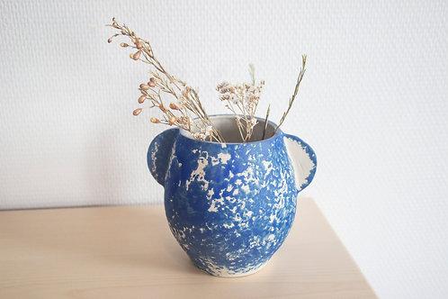 Vase en Grès Blanc et engobe colorée