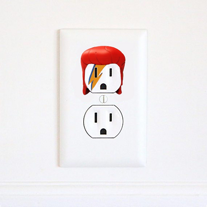 David Bowie V2 - Ziggy Stardust - Electric Outlet Wall Art Sticker