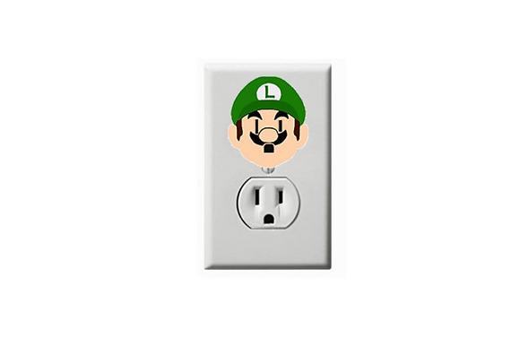 Luigi - Super Mario- Electric Outlet Wall Art Sticker