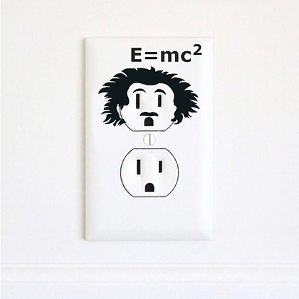 Albert Einstein - Electric Outlet Wall Art Sticker Decal