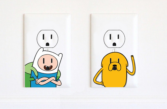 Adventure Time - Finn and Jake - Electric Outlet Wall Art Sticker Decal