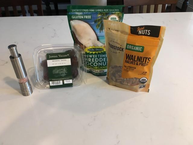 Salt, Dates, coconut, walnuts