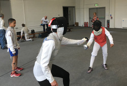 Summer Social 2016 - Parents try fencing
