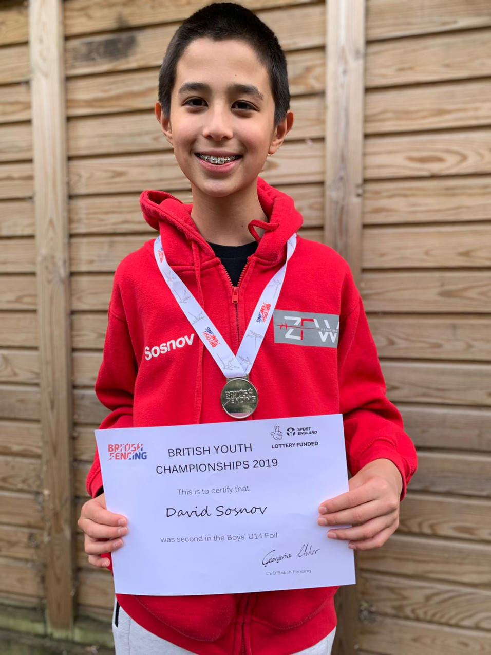 David with his  U14 silver medal
