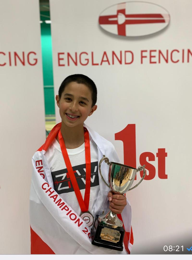 2019 U13 boys foil champion, David Sosno