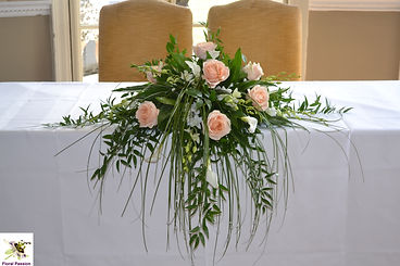 peach ivory cermony table long and low d