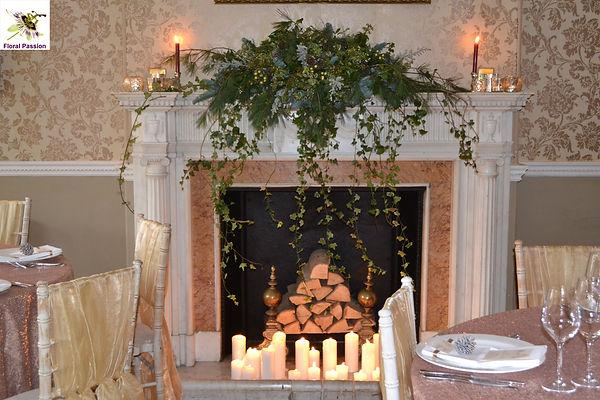 trailing foilage fireplace mantle displa