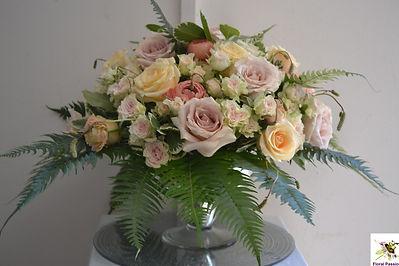 champagne peach silver mercury rose bowl