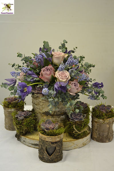 floral passion birch bark arrangement li
