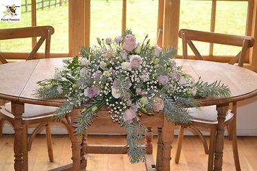 ceremony long and low arrangement blush,