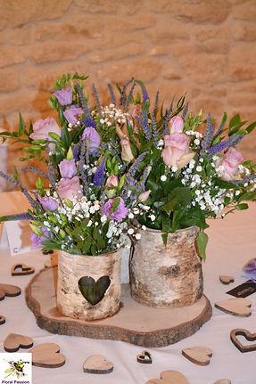 triple birch bark vase table center lila