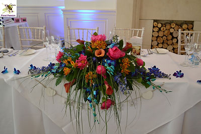 top table multi colourd long and low dis