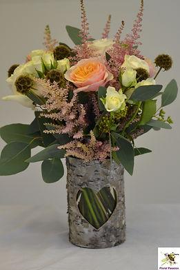 peach pink ivory single  birch bark vase