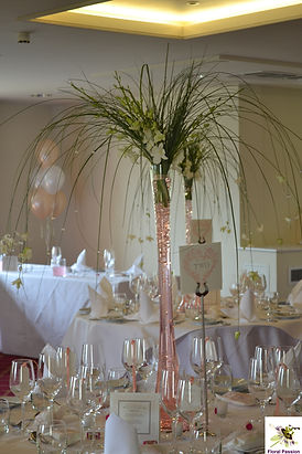 peach and ivory arum lily table display.