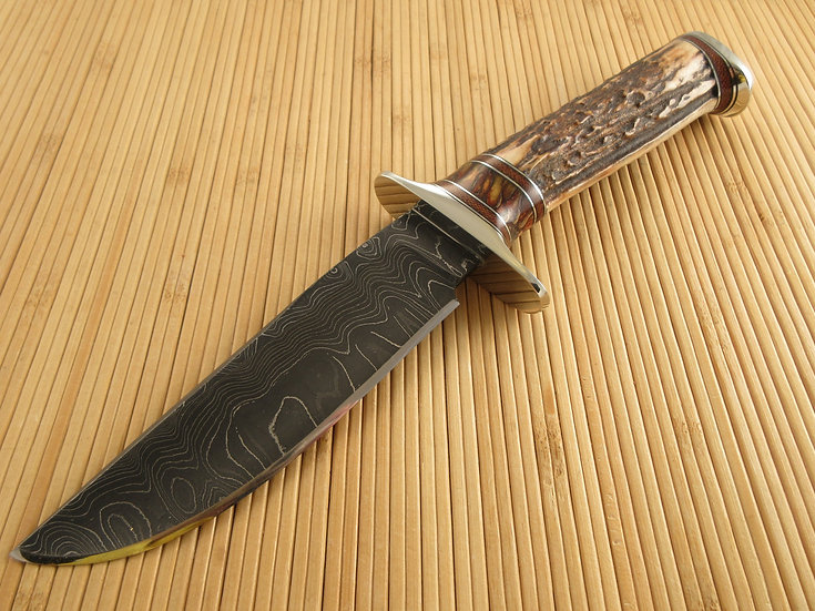 Stag and Damascus Bowie