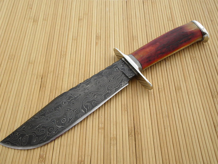 Amber Elk Antler and Damascus Bowie