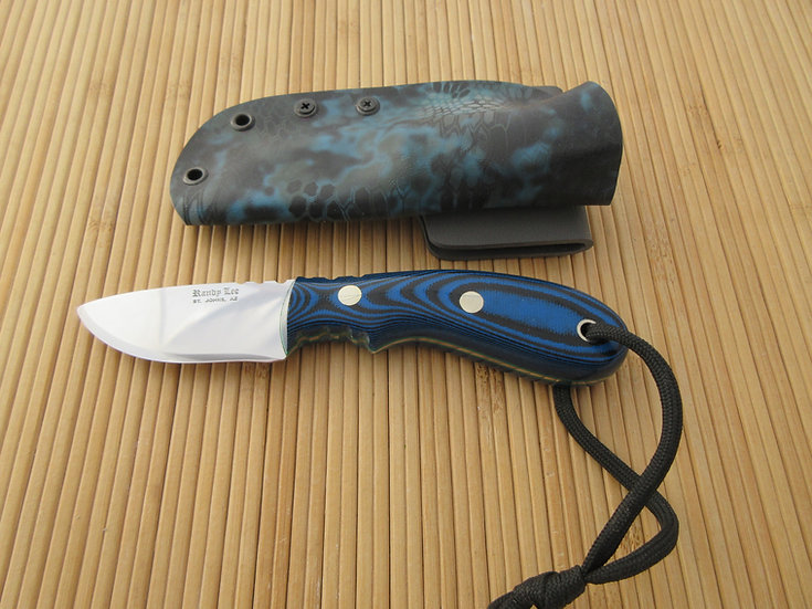 Small Blue G-10 Drop Point Flat Blade