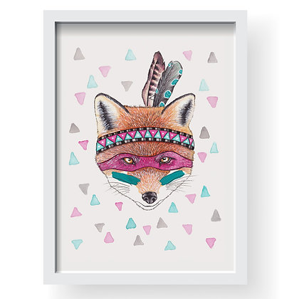 Foxy Indian Gilcee Art Print