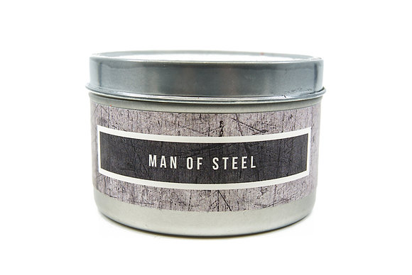 Man of Steel Flamin Wax Soy Candle Tin