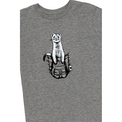 Kids Pocket Buddy Grey Marle T-shirt