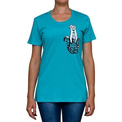 Ladies Pocket Buddy Teal T-shirt