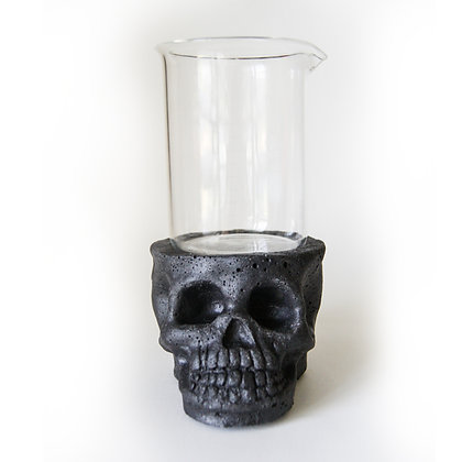 Skull Lab Planter - Black Concrete