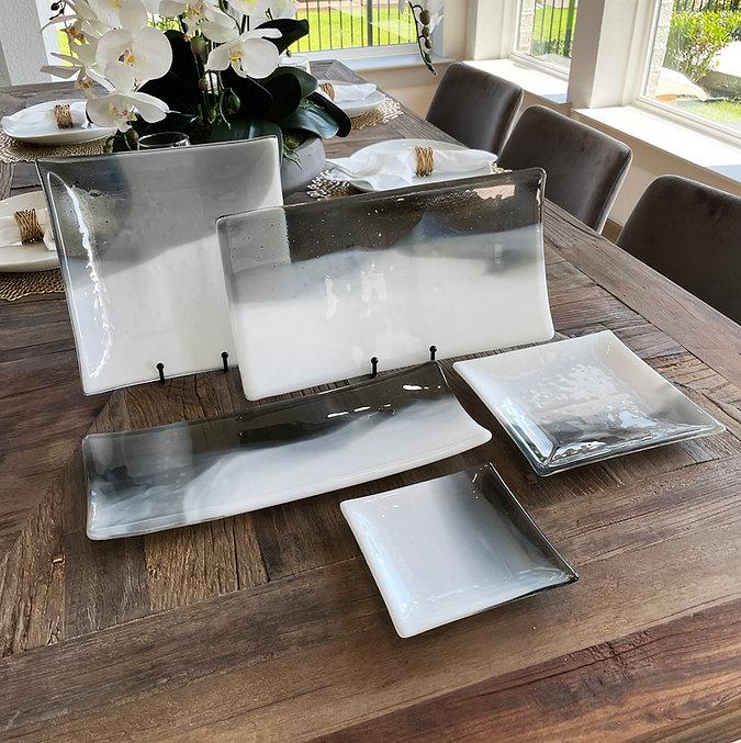 white steel gray serveware