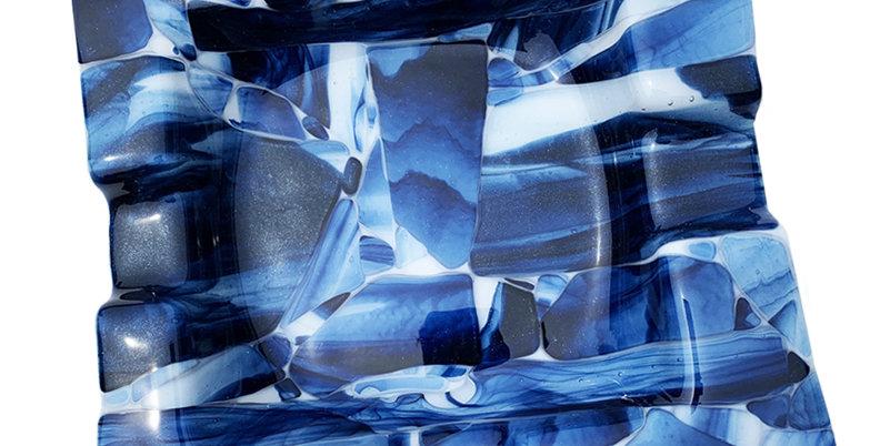 Blue Smoky Crush Ashtray - Medium