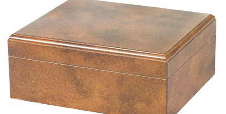 Crackle Finish Rawhide Humidor - 50 Capacity