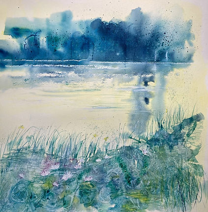 Water Lillies by Ione Harrison Watercolo